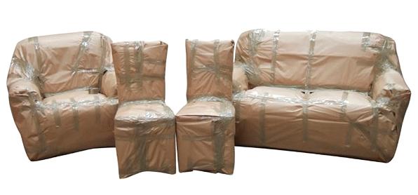 Защитная упаковка для мягкой мебели из пузырчатой плёнки и картона