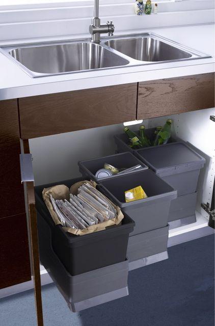 Система хранения вторсырья и отходов под кухонной мойкой