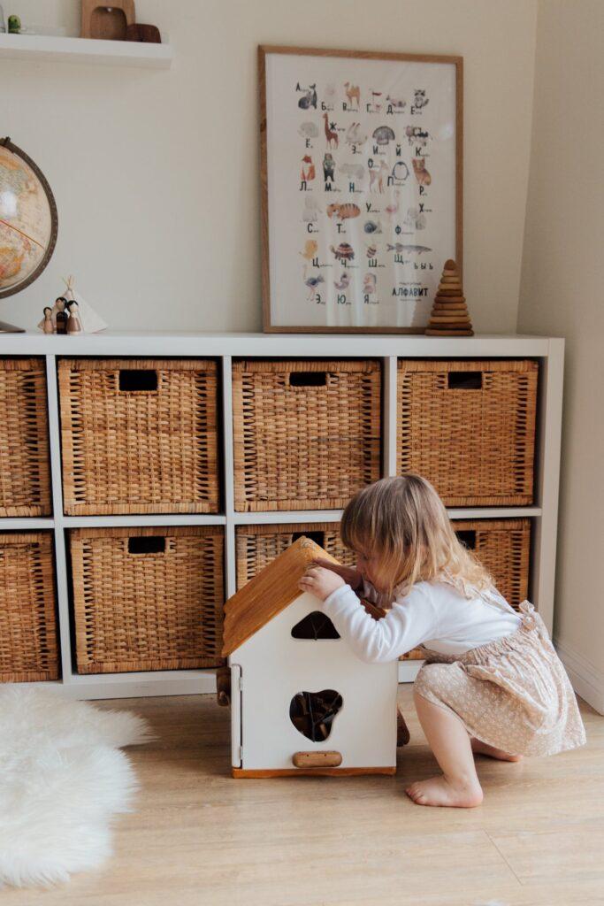 Плетёные коробки для хранения игрушек