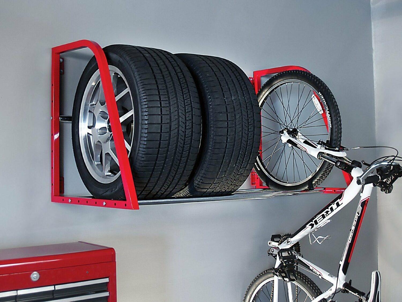 Хранение шин и велосипеда на стене